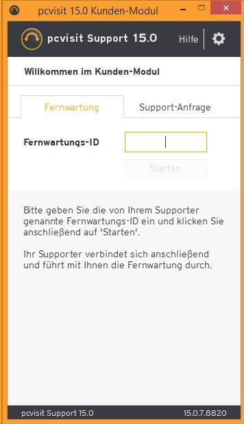 pcvisit Supportanfrage